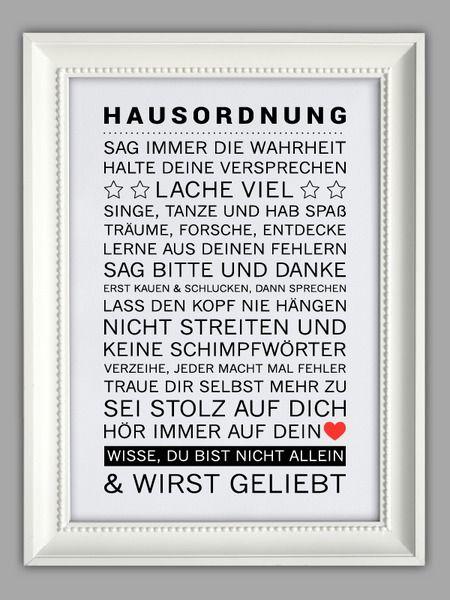 """""""HAUSORDNUNG"""" Kunstdruck von Smart-Art Kunstdrucke auf DaWanda.com"""