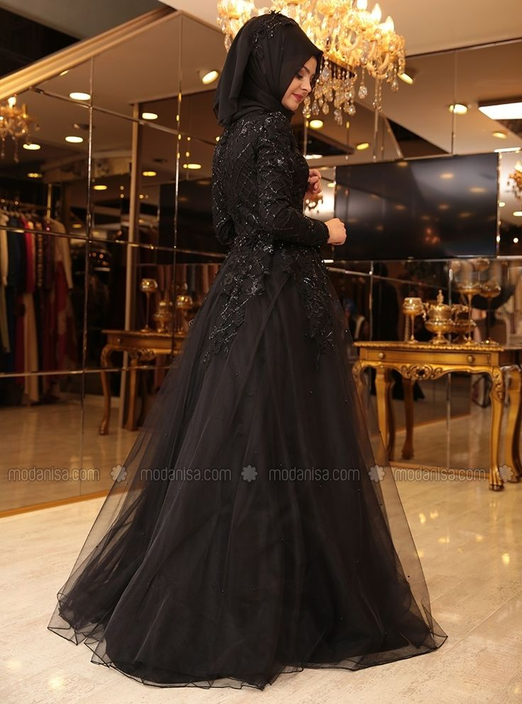 Salkım Evening Dress - Black - Pinar Sems