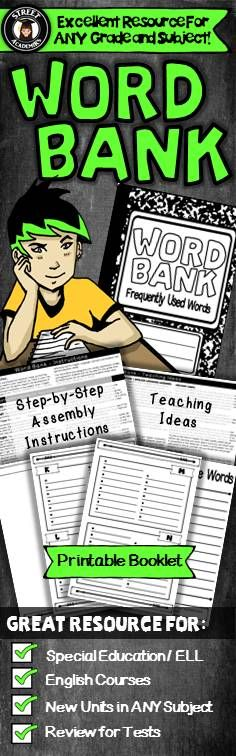 $2.50 - This printable booklet can be used to support the development of basic or advanced vocabulary in any subject area - English, History, Social Studies, Science, and Math! It is also a valuable reference tool for English Language Learners and students with special education needs.