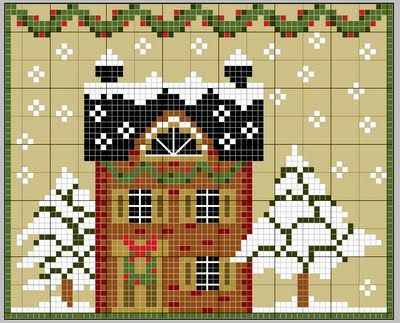 Cottage under the Snow - free cross stitch pattern. Many free patterns on this site, all beautiful!