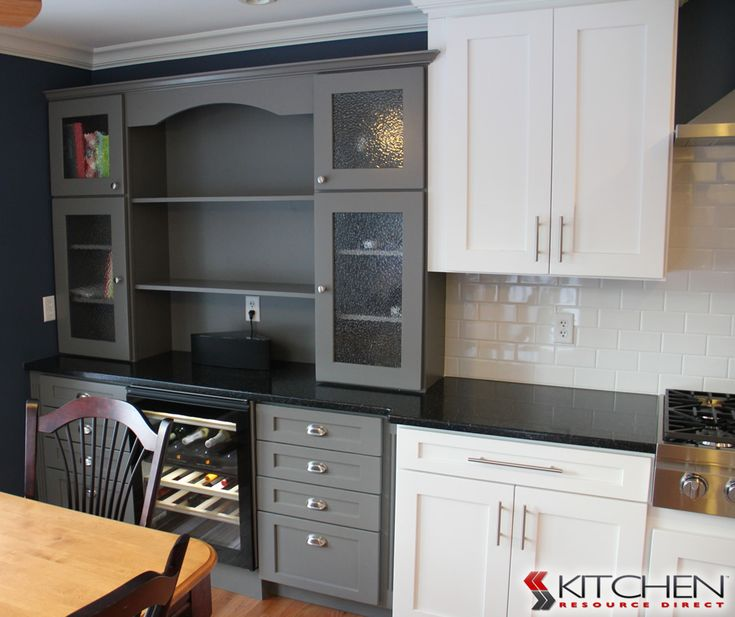 Gray Painted Cabinets Next To Bright White Cabinets. Shown Is Deerfield  Shaker II Bright White