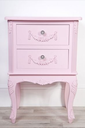 Description This gorgeous girls pink bedside table is part of our Sophie Pink collection of furniture It is a French style shabby chic girls bedside