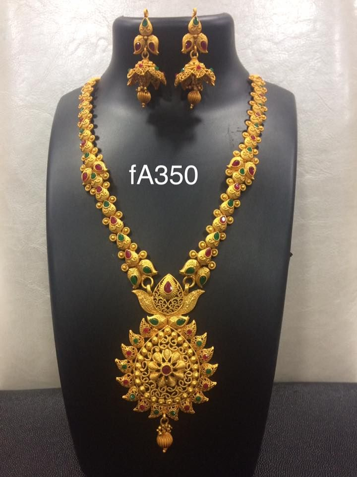 Beautiful long haram studded with multi color stones. 19 September 2017.
