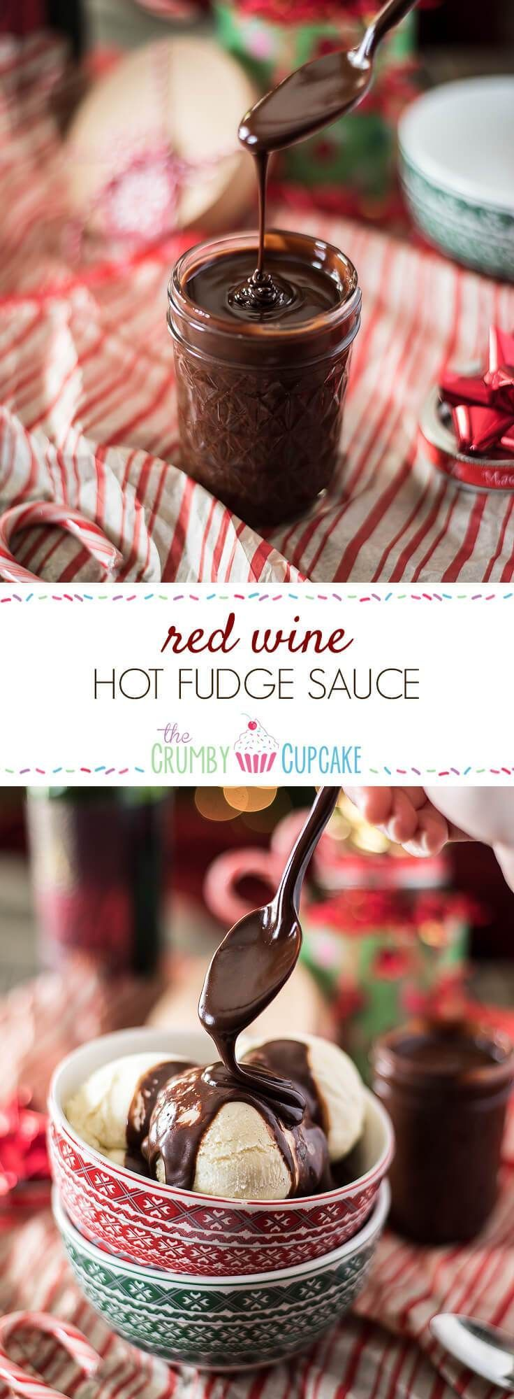Red Wine Hot Fudge Sauce is a great gift for chocolate and vino lovers alike - perfect for those bowls of ice cream that just need a little extra something special! #redwine #hotfudge #sauce #fudge #recipe #christmas #gift #wine #holiday #dessert