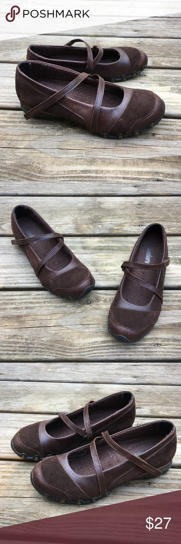 Skechers Comfy Mary Janes These brown Mary Janes are soooo comfy and made like sneakers! They are in excellent condition with very little sign of wear. Size 6.5 regular. Reasonable offers welcome Skechers Shoes