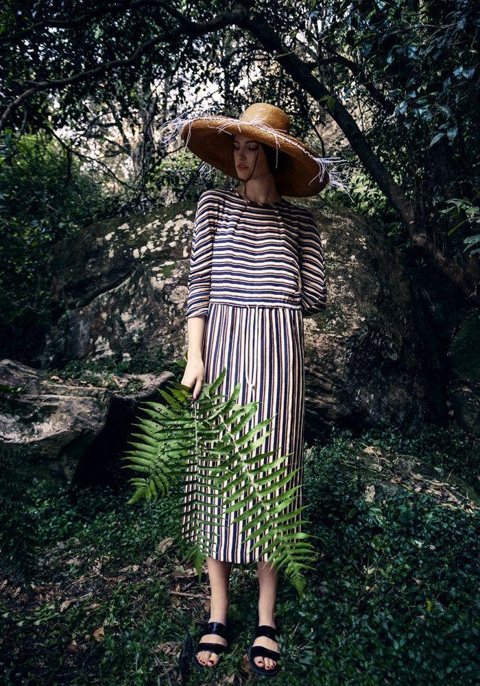 Penny Sage striped silk linen dress. Made in New Zealand. At Bashful Garter www.bashfulgarter.com