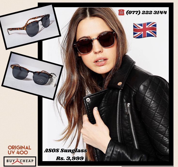 Sunglasses by ASOS Collection * Lightweight frames * Adjustable silicone nose pads for added comfort * Dark tinted lenses * Slim arms with curved temple tips for a secure fit * Total UV Protection * 65% Plastic, 35% Metal * Wipe clean UK 🇬🇧 BRAND  Free delivery in SriLanka. Limited stock availability 🔘Retail price: Rs. 3,999 🔘Cash on Delivery 🔘☎(077) 222 3144 order now on viber / imo or DM  Follow us on Instagram: http://instagram.com/buycheap.asia