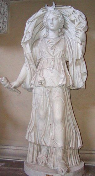 SELENE (Roman LUNA), Titan Goddess of the Moon, daughter of Hyperion (light) and Theia (sight), sister of Helios (sun). Selene fell in love with Endymion a mortal shepherd King, at her behest Zeus put him into an eternal sleep so he could not age. Their union gave seed to 50 Goddesses of the lunar months and the phases of the moon known as the Menae.