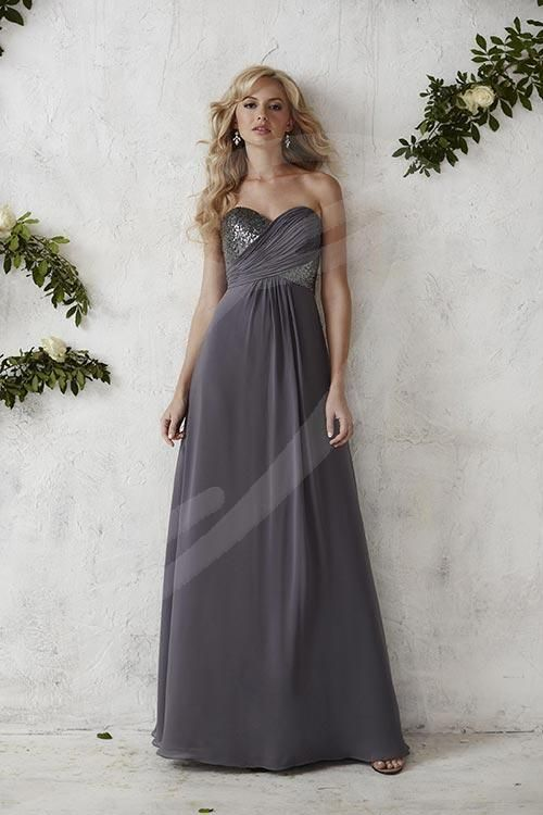 Balletts Bridal - 22396 - Bridesmaids by Jacquelin Bridals Canada - Appeal to your modern side with this full-length chiffon gown, featuring a two-tone criss-cross of sequins and chiffon on the strapless sweetheart bodice Pictured in: Charcoal/Charcoal