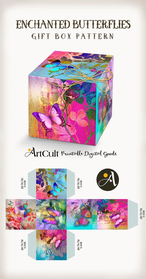 CAJA de regalo de mariposas ENCHANTED digital imprimible patrones, hacerlo usted mismo hoja de boda favor cuadro collage, descarga inmediata. ArtCult diseños