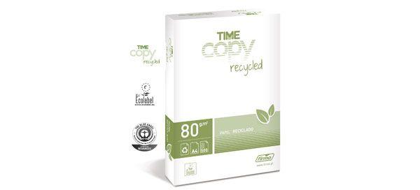 Time Copy Recycled é uma das novidades do catálogo geral para 2013 da Firmo, no segmento Informática e Papel de Cópia. Trata-se de papel 100% reciclado produzido a partir de desperdícios de papel recuperados, mantendo a brancura natural. Este papel, para utilização em fotocopiadoras ou impressoras, é ambientalmente credenciado com as certificações Blue Angel e Ecolabel, para produtos amigos do ambiente e ecológicos.