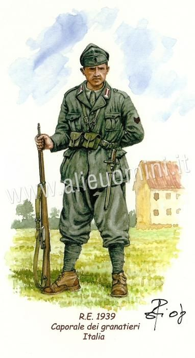 Regio esercito, Caporale dei Granatieri in una caserma.