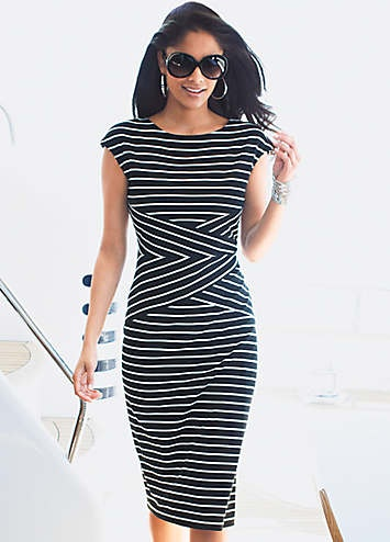 Jersey Dress Love the stripes @ the waist