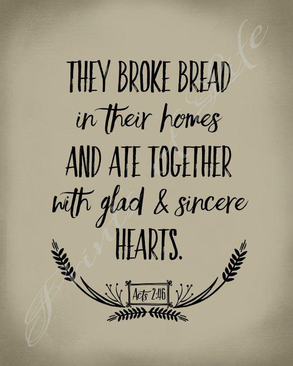 Bible Verse Art They Broke Bread Acts 246 By PrintsofLife Christian ArtworkBible ArtChristmas ChalkboardChalkboard IdeasBreadsDining Room