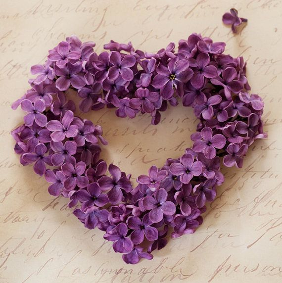 lilac wreath...Floral Heart Photography - Romantic Purple LIlac Blossom Photograph, Valentine Photo Wall Art