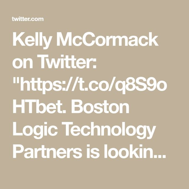 """Kelly McCormack on Twitter: """"https://t.co/q8S9oHTbet. Boston Logic Technology Partners is looking for their next Web Designer / Front-End Developer in Boston, MA #SD"""""""