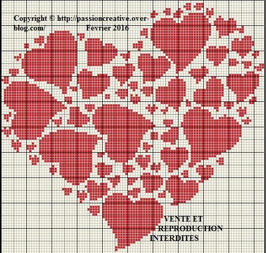 Grille gratuite point de croix : Coeur coeur coeur rouge - Le blog de Isabelle