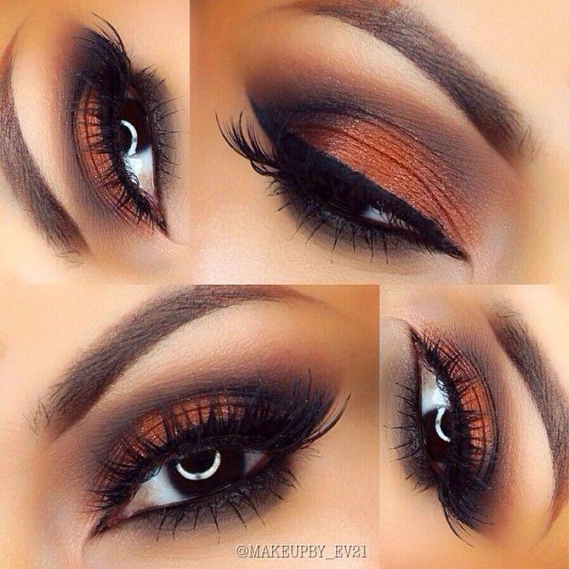 Autumn eye makeup copper