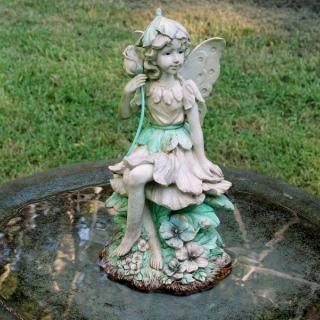 Rose Fairy In Birdbath: Fairy Garden Statues