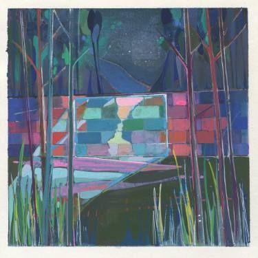 "Saatchi Art Artist Charlotte Evans; Painting, ""kiss kiss (cinema sotto le stelle)"" #art"