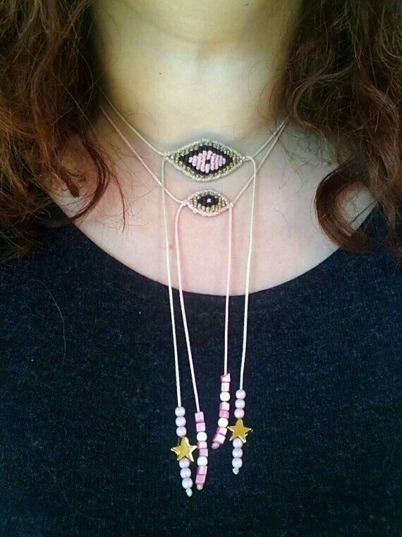 #collar #doble #fleco #mostacillas #formas
