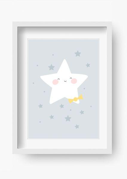 """Bilder - Kinder Poster """"Sterne (blau)"""" (Kinderzimmer Bild) - ein Designerstück von fabeltal bei DaWanda"""