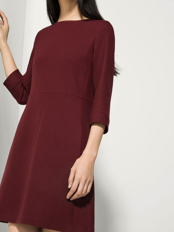BURGUNDY FLOUNCE DRESS
