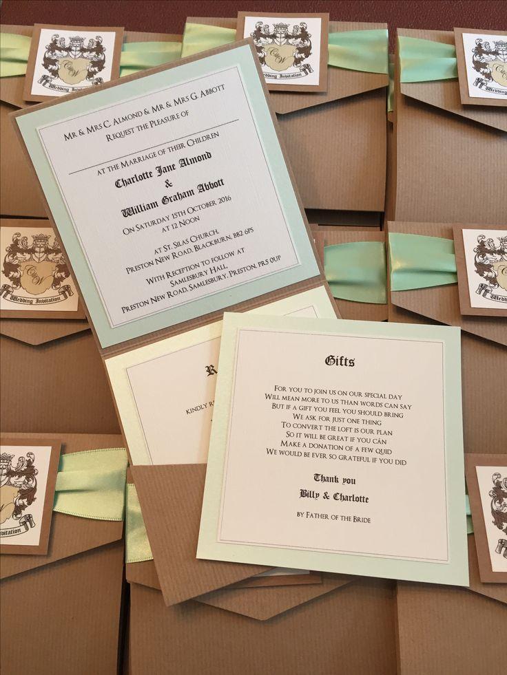 Coat of Arms Pocketfold Wedding Invitation in Brown Kraft Card & Mint