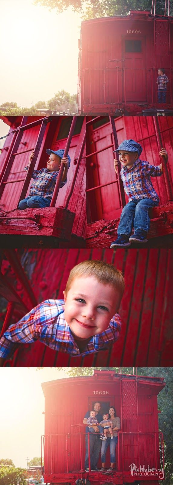 3 year old todder pictures on a train caboose. Red and Blue engine theme at Colorado railroad museum. When you love Thomas! Pickleberry Photography: 3rd Birthday Session