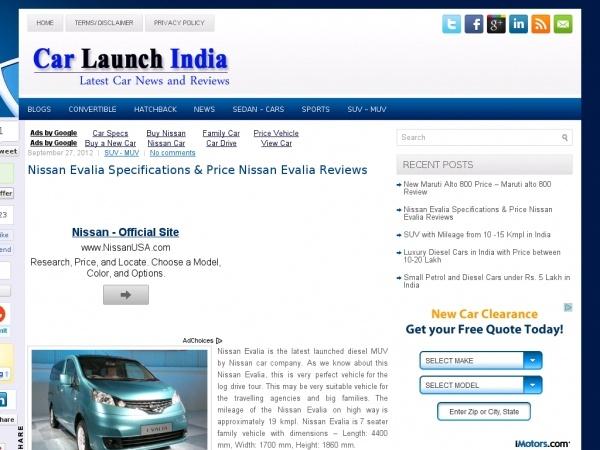 Nissan Evalia Car Specifications.