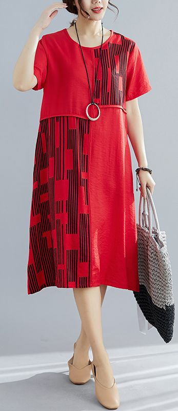 Chic red patchwork cotton quilting dresses plus size pattern o neck Maxi summer Dress