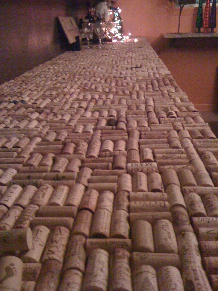 our wine cork countertop...before sealing