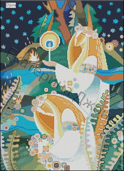 Ночь на Ивана Купала. Авторская цветная схема для вышивки в двух вариантах: 24 цвета и 70 цветов. Вариант 70 цветов.
