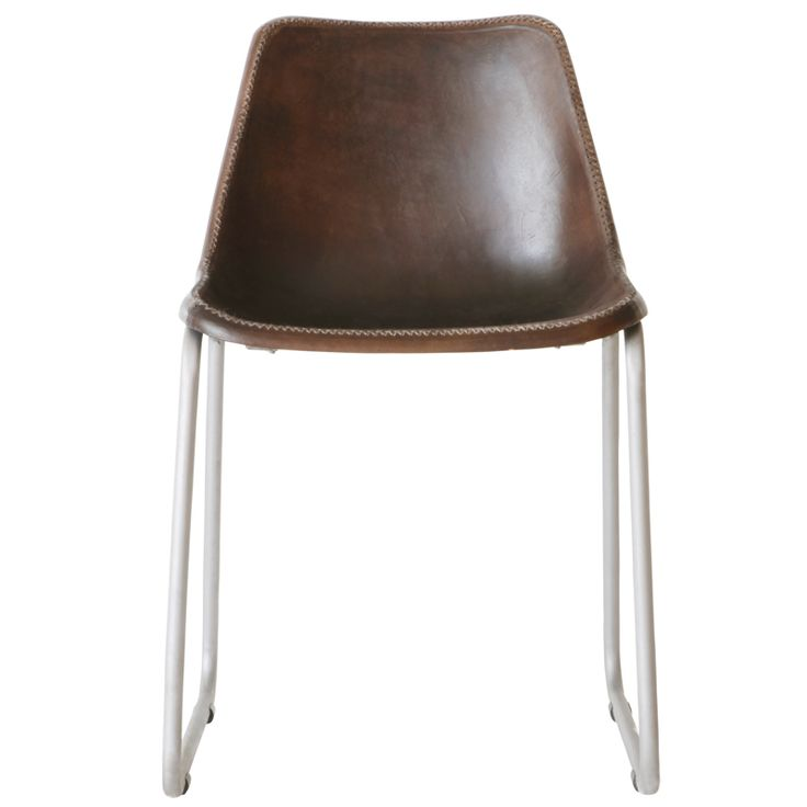 Moulded Leather Chair – Dark Brown Dining Room