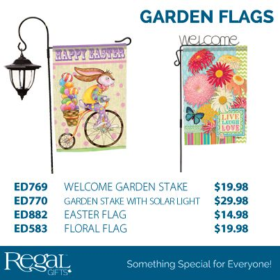 """FLAGTRENDS™ GARDEN STAKES & FLAGS A great way to bring your garden to life and welcome friends and family. Choose from metal Welcome flag stake (42'H) or the Solar lantern flag stake (31-1/2'H). Both fit all standard size garden flags (13"""" x 18""""). Flags are made from Dura Soft fabric that is readable from both sides."""