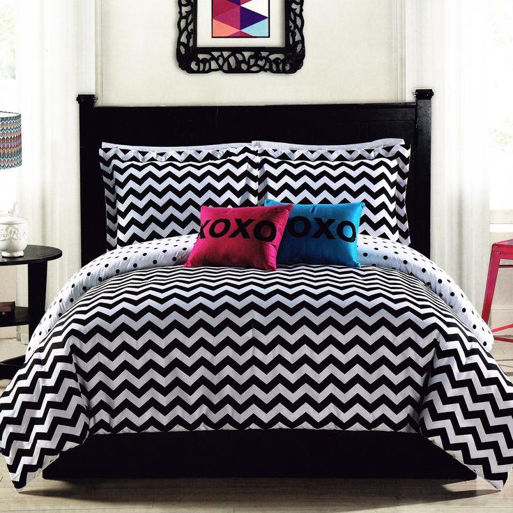 black white chevron comforter set twin fullqueen teen girl bedding reversible zigzag