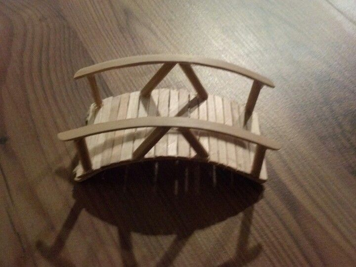 My first attempt at a miniature popsicle stick bridge                                                                                                                                                     More