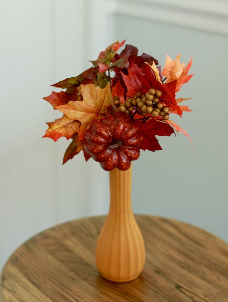 Fall Arrangement- Yellow Painted Vase, Autumn Leaves, and Small Pumpkin