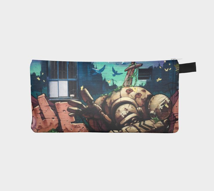 Excited to share the latest addition to my #etsy shop: Street Art 'Robot Wars' Pencil Case/Travel Bag/Make up Purse