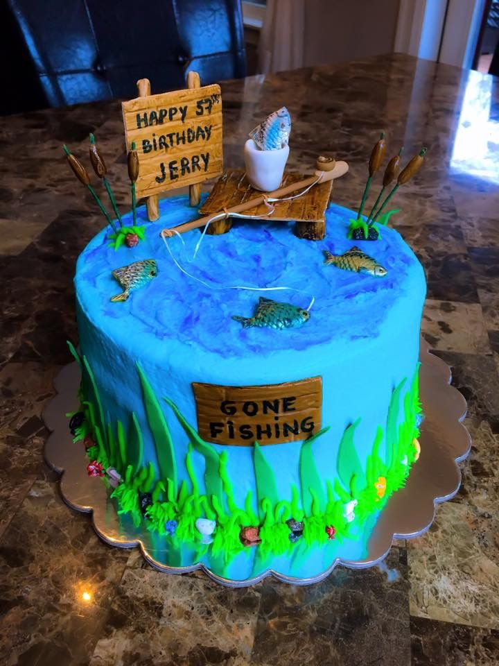 Fishing Birthday Cake For A Guy Wild At Heart #gonefishing