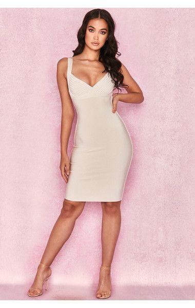 46a759a1edb4 Clothing : Bandage Dresses : 'Norita' Ivory Cross Bust Bandage Dress ...