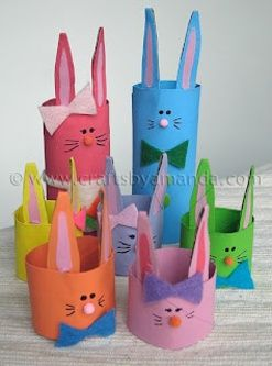 EASTER: Easter bunnies from paper towel tubes. Add a bottom to these and fill them with candy.