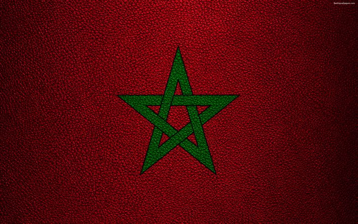 Download wallpapers Flag of Morocco, 4k, leather texture, Africa, Moroccan flag, flags of African countries, Morocco