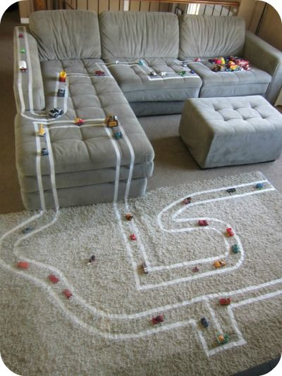 Bored Kids?  Build a Car Track with Masking Tape!