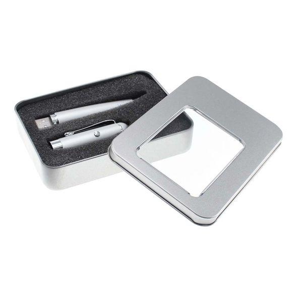 COD.BM034 Bolígrafo metálico con Puntero Láser y USB Pendrive 8 GB incorporado. Presentación en Estuche de Aluminio con ventana.