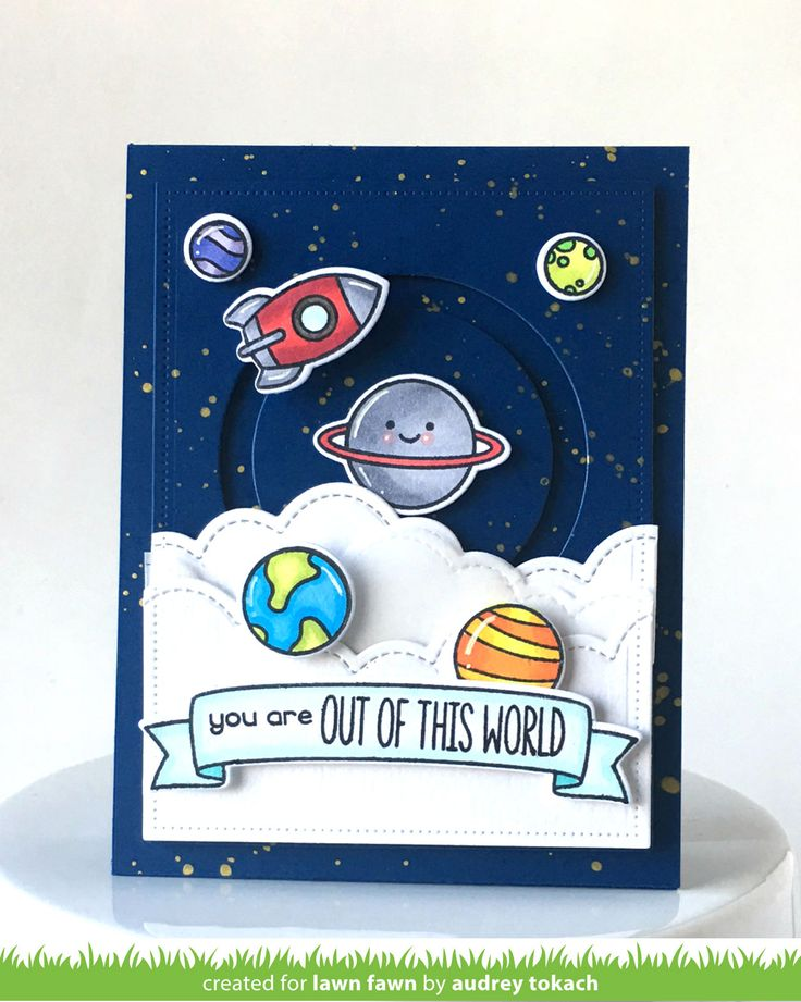 Card by Audrey Tokach (022017)  [Lawn Fawn (dies) Bannerific, Dotted Rectangle Stackables, Out of This World, Puff Cloud Borders, Slide on Over Circles; (stamps) Bannerific, Out of This World]