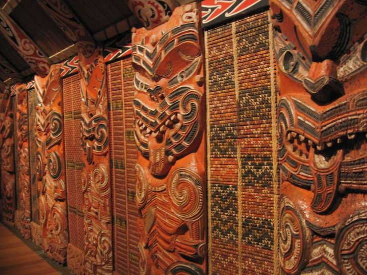 Interior Wall Decoration In A Wharenui Meeting House