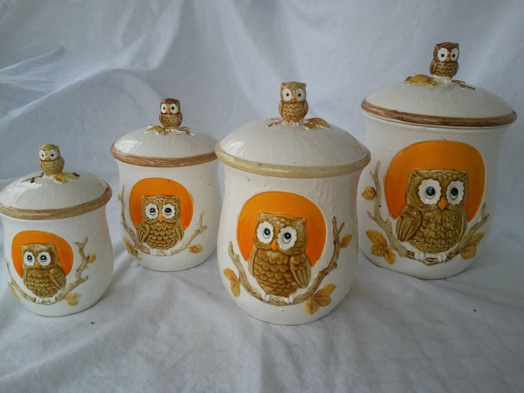 Vintage Set Of 4 Owl Canisters