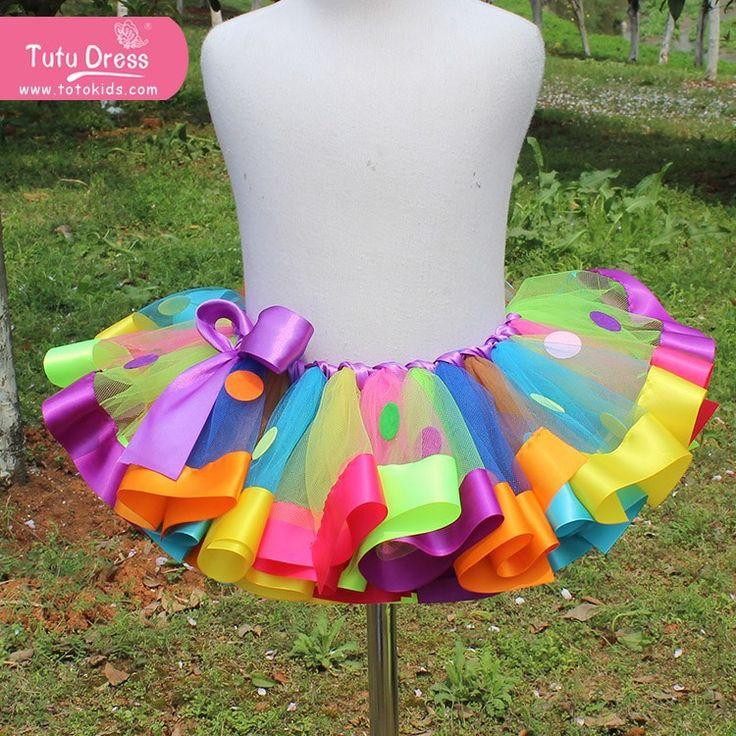 Arco íris crianças menina tutu saias pettiskirt tutu para casamento custome em Saias de Mamãe e Bebê no AliExpress.com | Alibaba Group