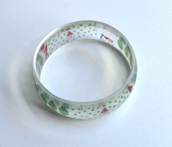 Girls resin bangle. Little red riding hood. by ZoseDesigns